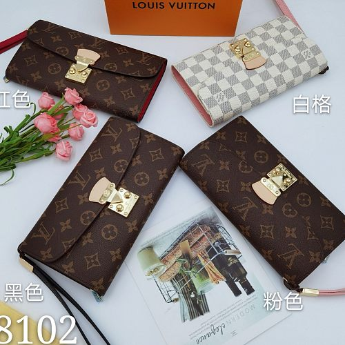 LV M58102 Classical Monogram White Checkered Long Folded Wallets With Box 0727105