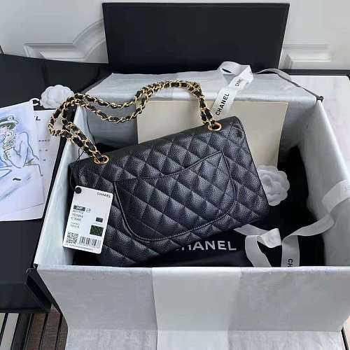 CHANEL 6024(A01112) Classic Handbag Grained Calfskin & Gold-Tone Metal (Black) size25*15*6
