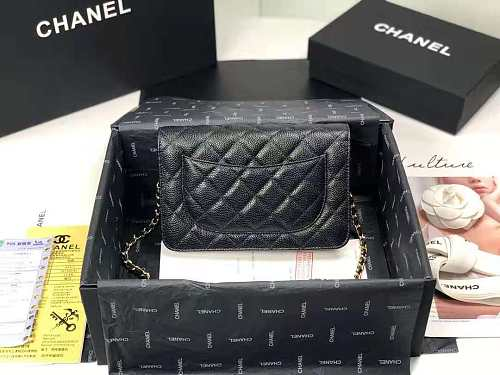 CHANEL 33814 Classic Handbag Grained Calfskin & Gold-Tone Metal (Black) size19*12*3