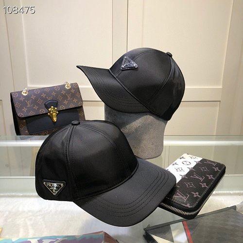 Prada Designer Cap Hat Black Two Style