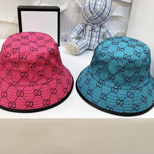 GG 2021 New Designer Fishman Hat Bright leather Red Blue