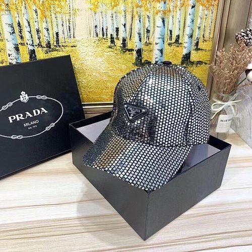 Prada Designer Cap Bling Hat