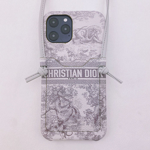 DIOR CARD HOLDER PHONE CASE FOR IPHONE 13 12 11 XS MAX XR X 7 8 PLUS Crossbody WITH LANYARD