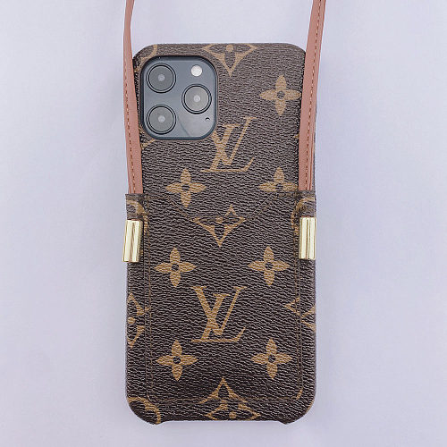LV LOUIS VUITTON CARD HOLDER PHONE CASE FOR IPHONE 13 12 11 PRO MAX XS MAX XR XS 7 8 PLUS WITH LANYARD