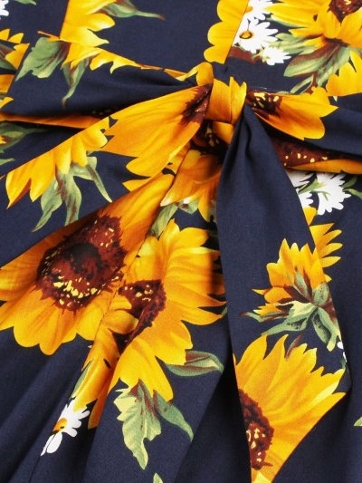 Random Sunflower Print Bow Tie Circle Dress