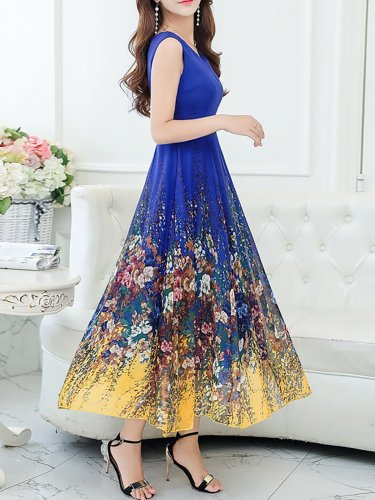 Elegant Sleeveless Chiffon V Neck Midi Dress