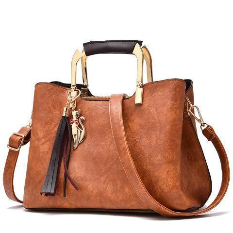Retro Vintage Leather Tassel Handbag For Woman