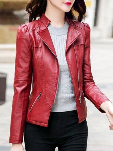 Lapel Zips Plain PU Leather Biker Jacket