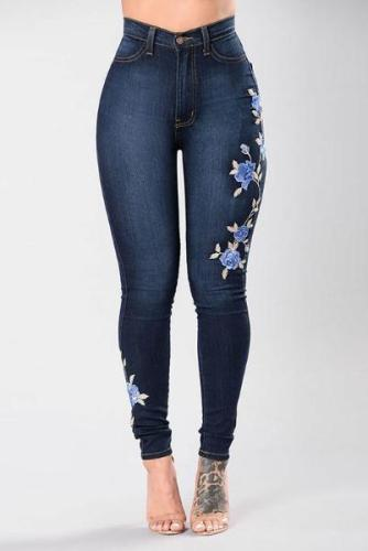 Stretch Embroidered Dark Blue Flower Denim Jeans