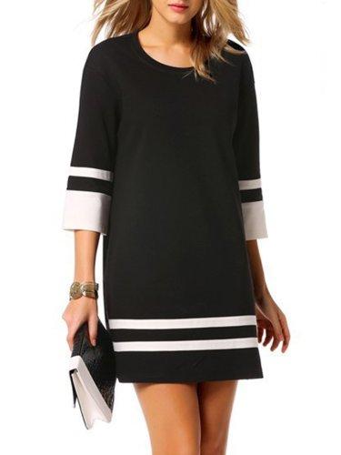Fashion Round Neck Color Block Striped Shift Dress