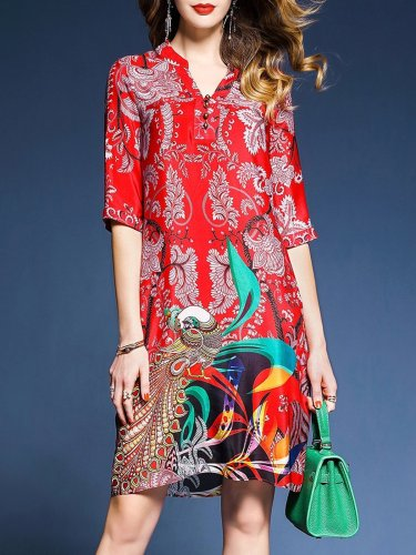 Red 3/4 Sleeve Printed Chiffon Tribal Shift Dress