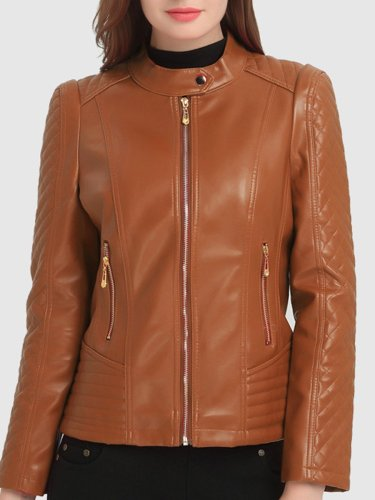 Plain PU Leather Band Collar Zips Pocket Biker Jacket