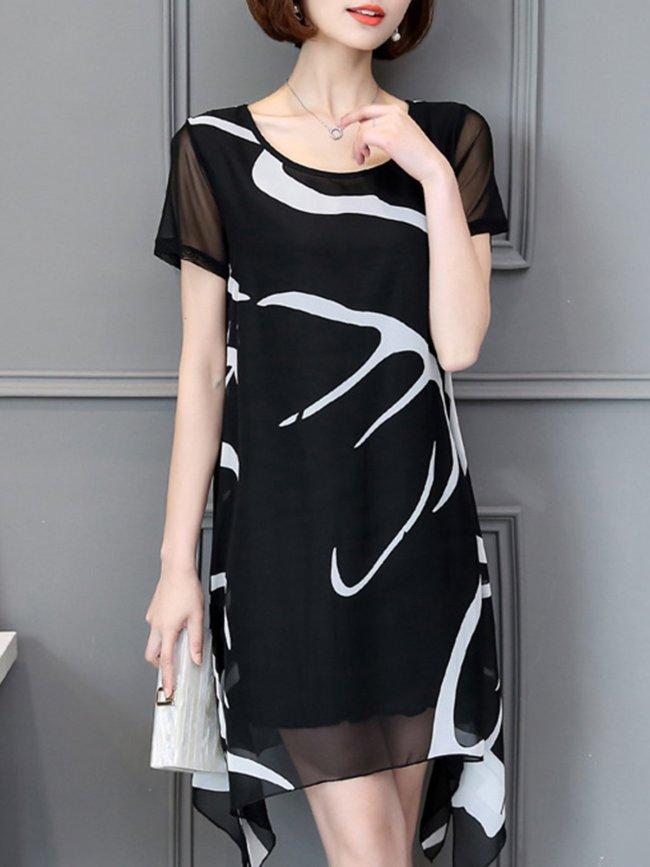 Asymmetrical Stripes Printed Plus Size Chiffon Dress