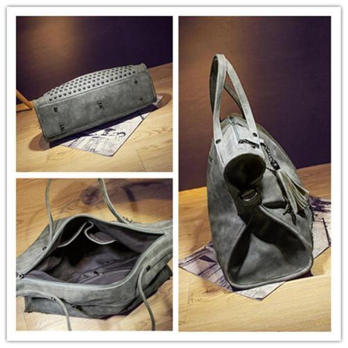 Elegant Rivet Nubuck Leather Tassel  Vintage Shoulder Bag