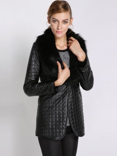 Synthetic Leather Jacket Women Collar Overcoat