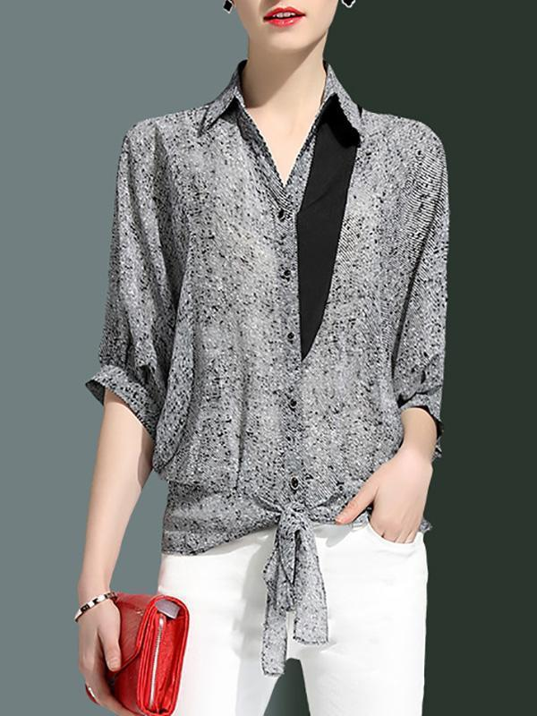 Shirt Collar Shift Half Sleeve Casual Paneled Striped Blouse