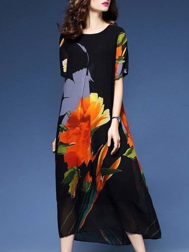 Elegant Women Floral Printed Short Sleeve Dresses