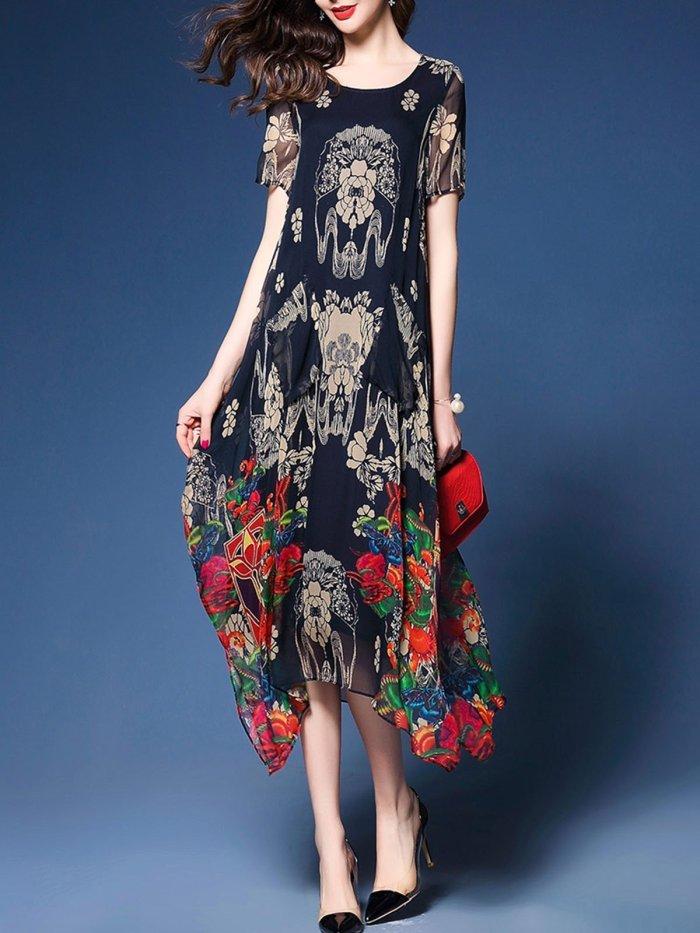 Multicolor Holiday Crew Neck A-line Printed Midi Dress