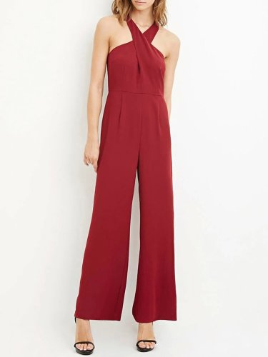Solid Surplice Neck Wrap Sexy Jumpsuit