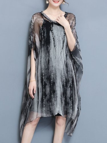 Casual Batwing Two Piece Plus Size Vintage Dress