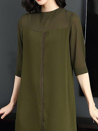 Solid Slit Shift Chiffon Half Sleeve Midi Dress