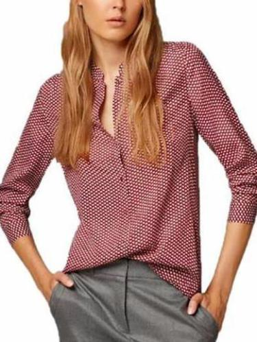Chiffon Button Down Blouse Long Sleeve V-Neck Printed Lady Shirts
