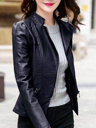 Band Collar  Zips  Plain PU Leather Biker Jacket