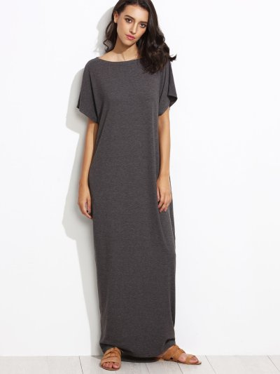 Side Pocket Batwing Cocoon Maxi Dress