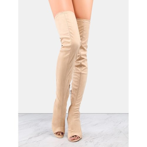 Heel Cut Out Suede Thigh Boots NUDE