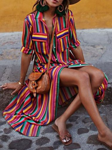 Holiday Half Sleeve Stripes A-line Midi Dress