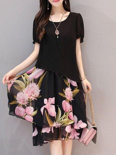 Fashion Floral Printed Chiffon Round Neck Shift Dress