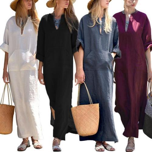 New Oversized Women Long Sleeve Solid Cotton Maxi Dress