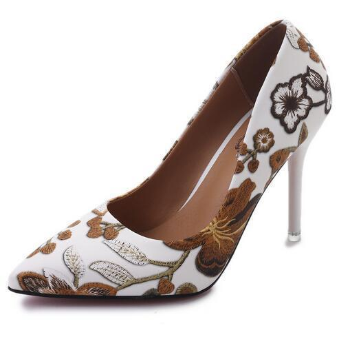 Leaf Embroidery Pointy Sexy Slender High-Heeled Shoe