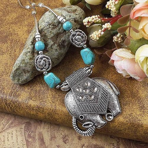 Elephants Retro Choker Necklace Necklaces and  Pendants