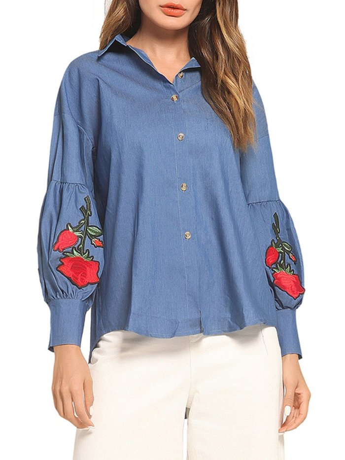 Blue Balloon Sleeve Floral-embroidered Shirt Collar Blouses