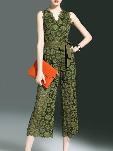 Army Green Plunging Neck Printed Sleeveless Chiffon Jumpsuit