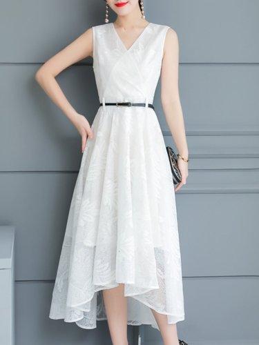 Woman V Neck  Asymmetric Hem Maxi Dress