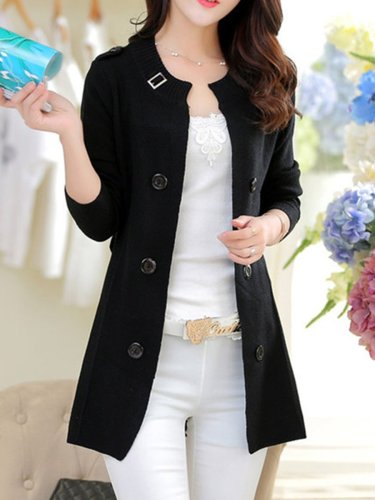 Collarless  Decorative Buttons  Belt  Plain Trench Coats