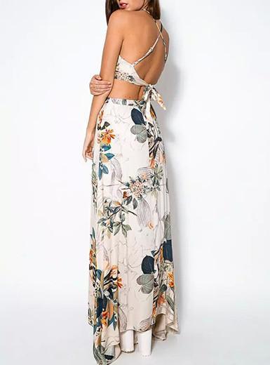 Floral Print Crop Top and Long Skirt Set