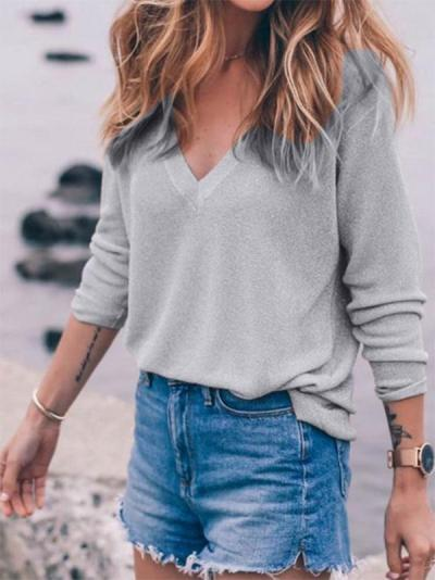 Fashion Solid Color V-neck Knitting Sweaters
