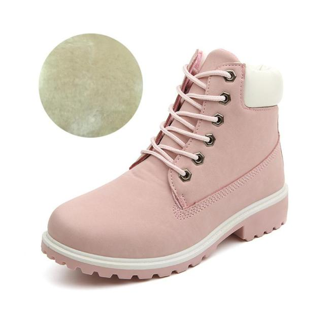 Lace-up Low Heel Non-slip Fleece Lined Martin Boots