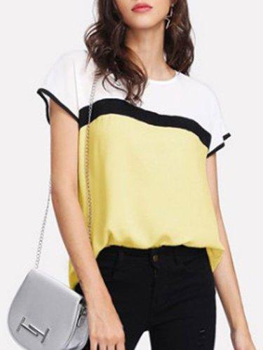 Summer  Chiffon  Women  Round Neck  Color Block  Short Sleeve Blouses