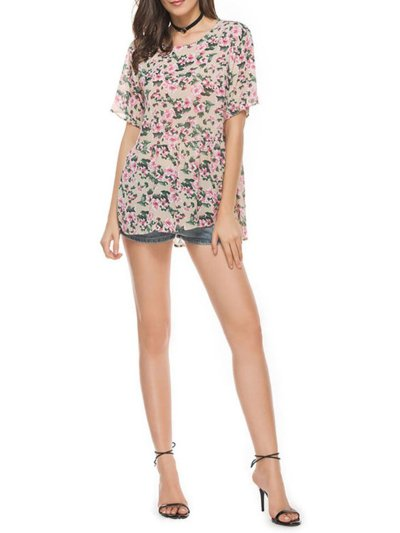 Floral Printed Crew Neck Short Sleeve Casual Blouses