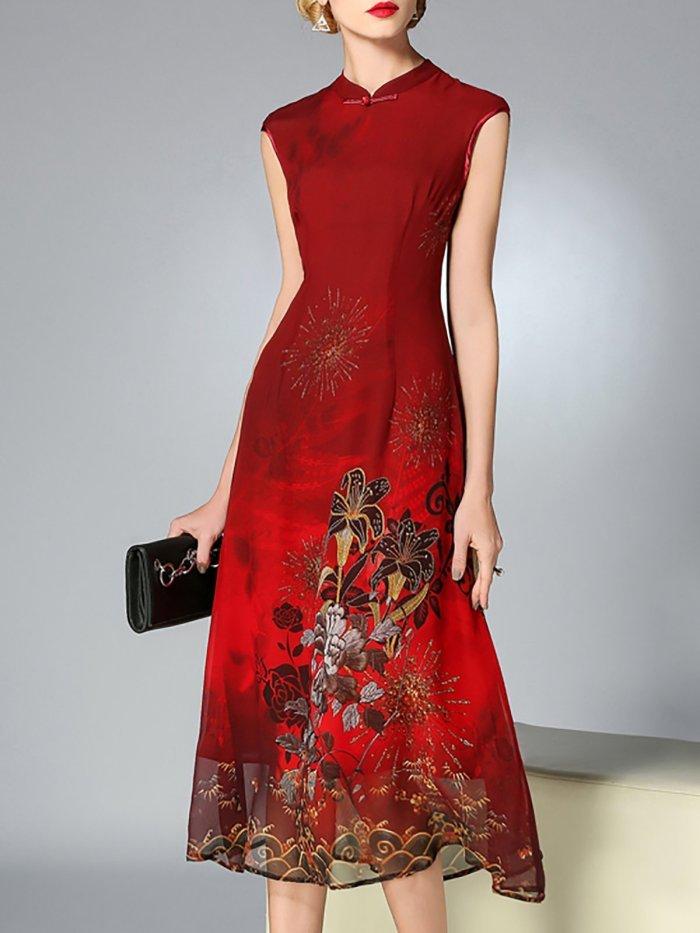 Burgundy A-line Floral Sleeveless Midi Dress