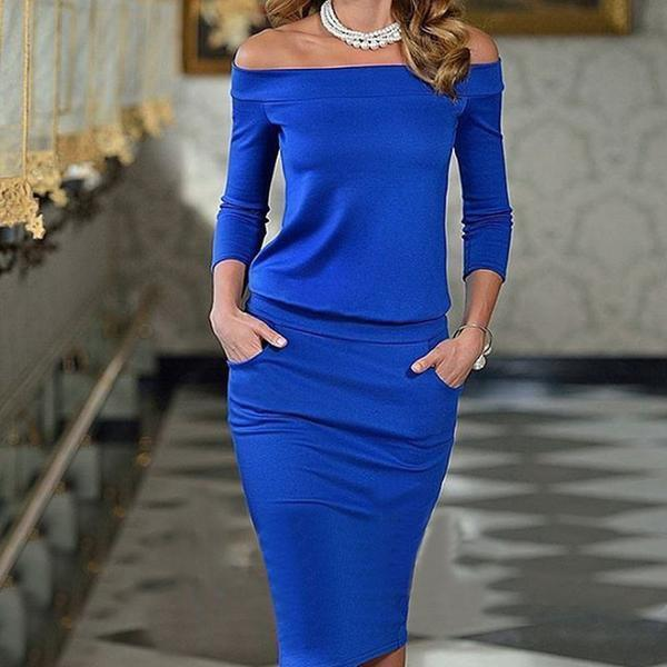 New Off Shoulder Patchwork Plain Fitted Bodycon Dress