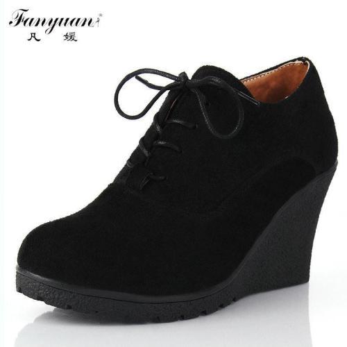 Fashion Flock High-heeled Platform Ankle Wedges  Boots