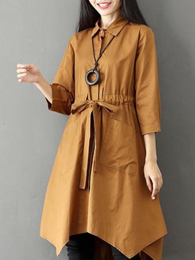 Parka Women Coat Long Warm Lapel Big Pockets With Belt