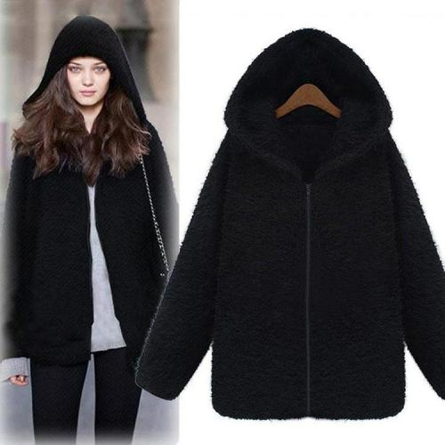 Velvet Thick Hooded Plush Coat Outerwear