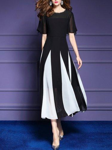 Color-block Elegant Frill Sleeve Chiffon Paneled Dress