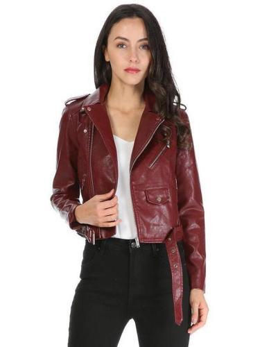 Women's Faux PU Leather Short Zipper Jacket Punk Coat Casual Outwear